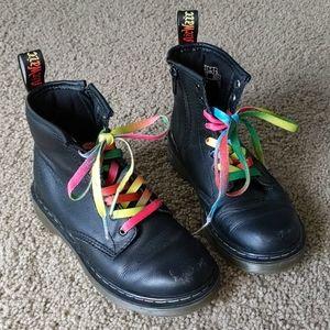 Doc Martens Black Boots Rainbow Stitching